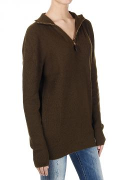 Zippered Cotton and Cashmere Sweater