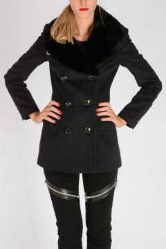 LONDON ENGLAND Wool Cashmere Coat With Real Fur