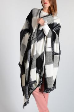 Cashmere & Wool Checked Poncho