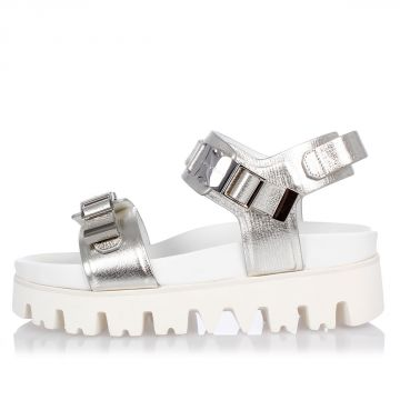Leather Silver Tone Effect Platform Sandals