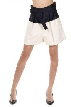 Shorts Bicolore con Cintura