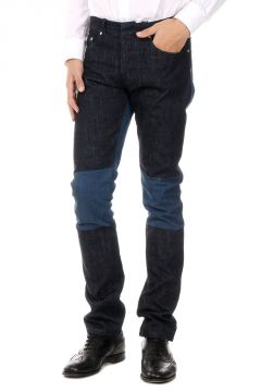 Cotton Denim Jeans With Contrasting Details 18 cm
