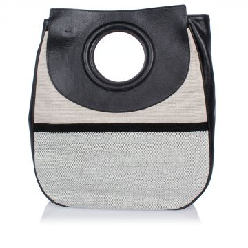 Handbag in Leather and Fabric
