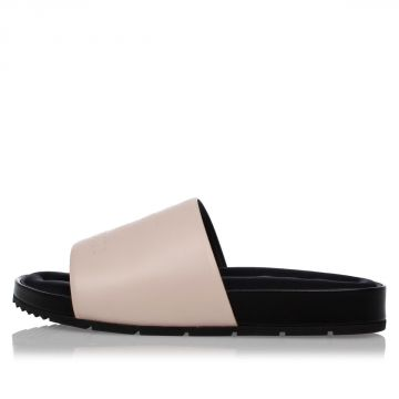 Leather and Fabric Slipper