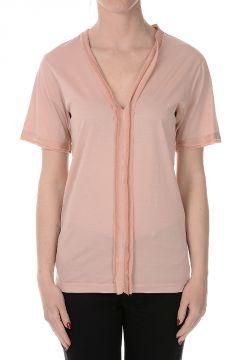 T-shirt Scollo a V in Cotone