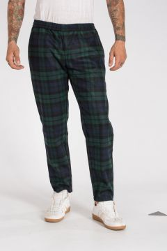 Wool Blend Checked Jogger Pants