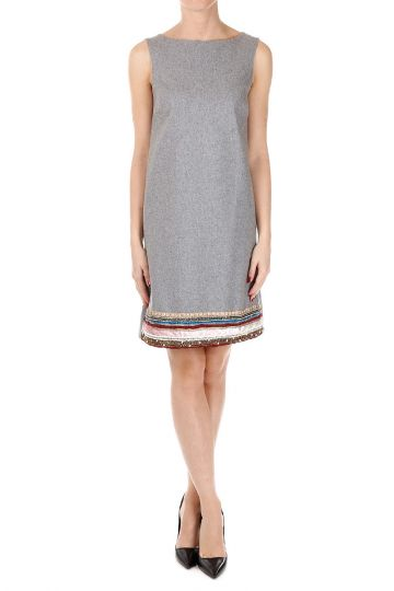 Wool Blend Dress with Strass