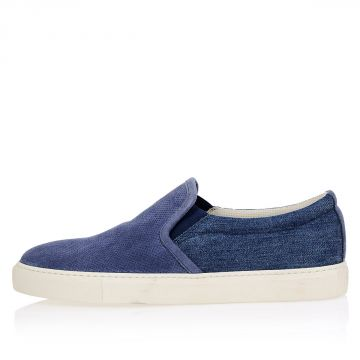 Leather Denim Slip On Sneakers