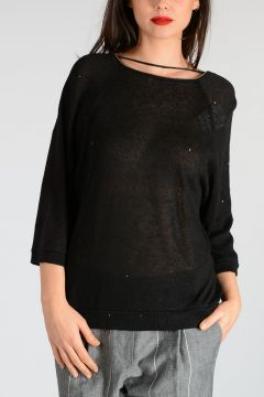 Sequins Linen Silk Knit Sweater