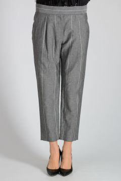 Pinstriped Virgin Wool & Linen Pants