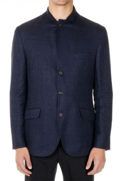 Mixed Linen Single Breasted Blazer