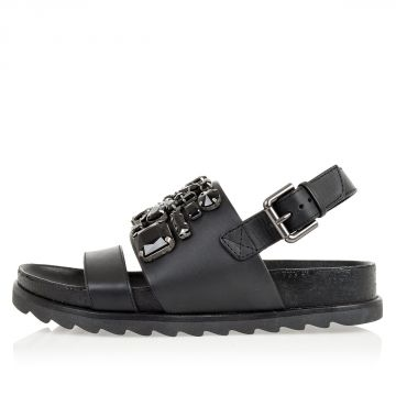 Leather sandals with jewel details