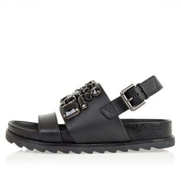 Sandali in pelle con applicazioni gioelli