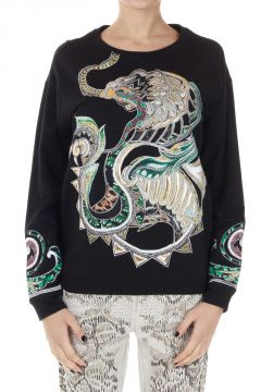 Round neck Sweatshirt with embroidered dragon