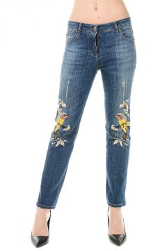 Embroidery Stretch Denim Jeans 16cm