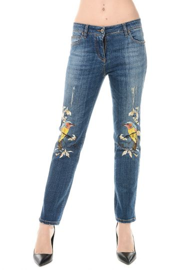 Jeans in Denim Stretch Ricamato 16 cm
