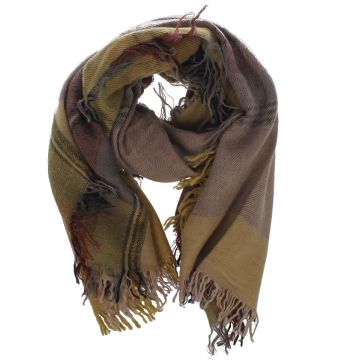 Check Linen & Wool Scarf