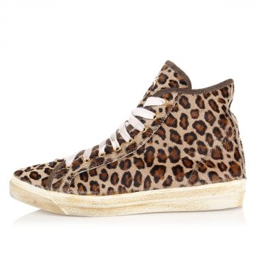 Sneakers Alte in Tessuto Stampa Lince