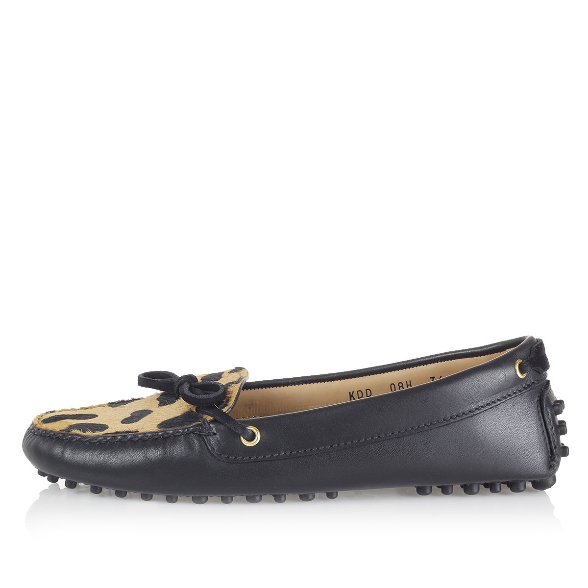 car shoe leather loafers with ponyskin detail