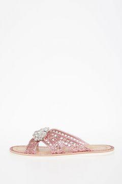 Sandali in Pelle con Glitter e Cristalli