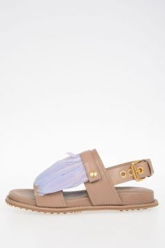 Leather Sandals with Removable Detail