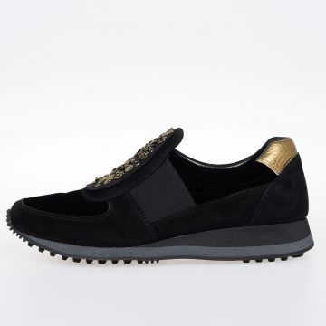 Sneakers Slip-On in Pelle Con Ricami