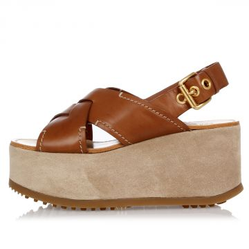 Leather Wedge Sandal with Buckle 8 cm