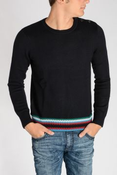 Wool Sweater with Intarsia Detail