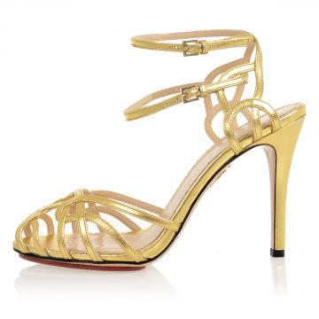 Leather URSULA Heeled Sandals 10 cm GOLD