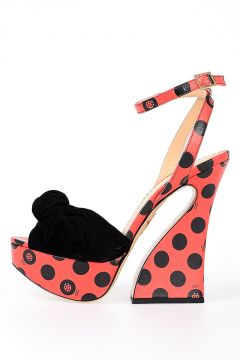 Sandalo In Pelle con Stampa Pois e Coccinelle 14 cm
