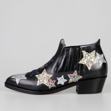 4 cm Leather Ankle Boots with Glitter Stars