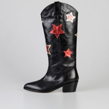5 cm Leather Boots with Stars Patches
