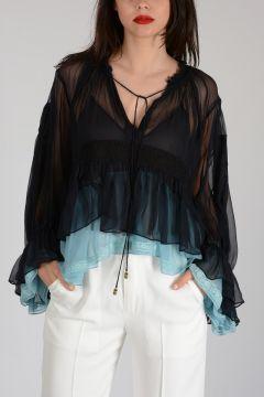 Silk Flounce Sleeves Top