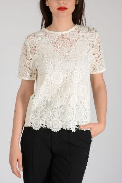 Mixed Cotton Embroidered Short Sleeves Top