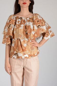 Cotton Flowered Top with Frill