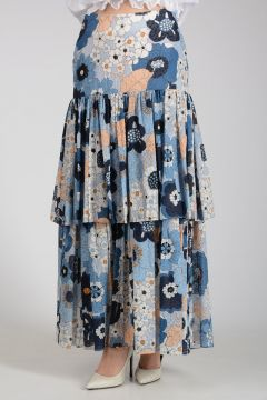 Cotton Flowered Long Skirt with Frill