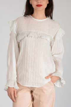 Embroidered Striped Long Sleeves Top