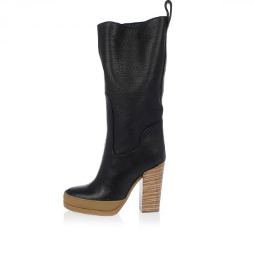 Grained Leather Boots Heel 11 cm