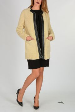 Leather-Trimmed Wool Coat