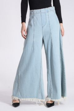 BLEACHED DENIM Culotte Jeans 45 cm