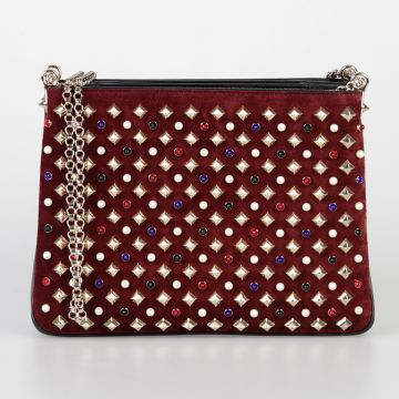 Suede Leather TRILOUBI Shoulder Bag with Spikes