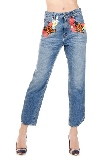 Jeans Capri in Denim con Ricamo 19 cm