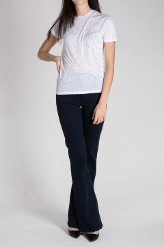 Viscose T-Shirt with Rhinestones