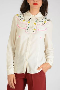 Embroidered Shirt with Jewel Bottom
