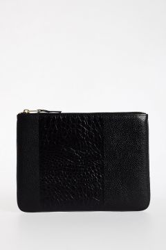 Reptiel Embossed Leather Pouch