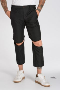 HOMME PLUS Cut Knees Cropped Pants