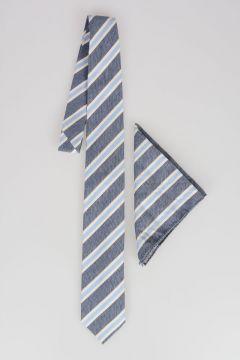 CC COLLECTION Cotton Silk Striped Tie with Pocket Pochette