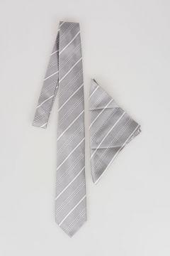 CC COLLECTION Silk Striped Tie with Pocket Pochette