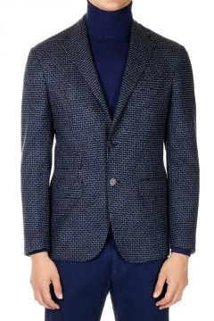 Geometric Printed Single Breasted Blazer