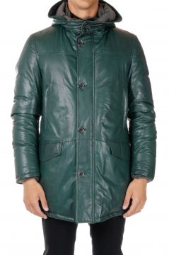 Hooded Leather Down Coat